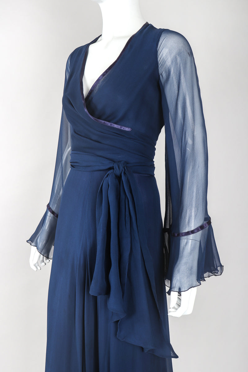 Recess Designer Consignment Vintage Sheer Silk Chiffon Wrap Top Skirt Set Los Angeles Resale