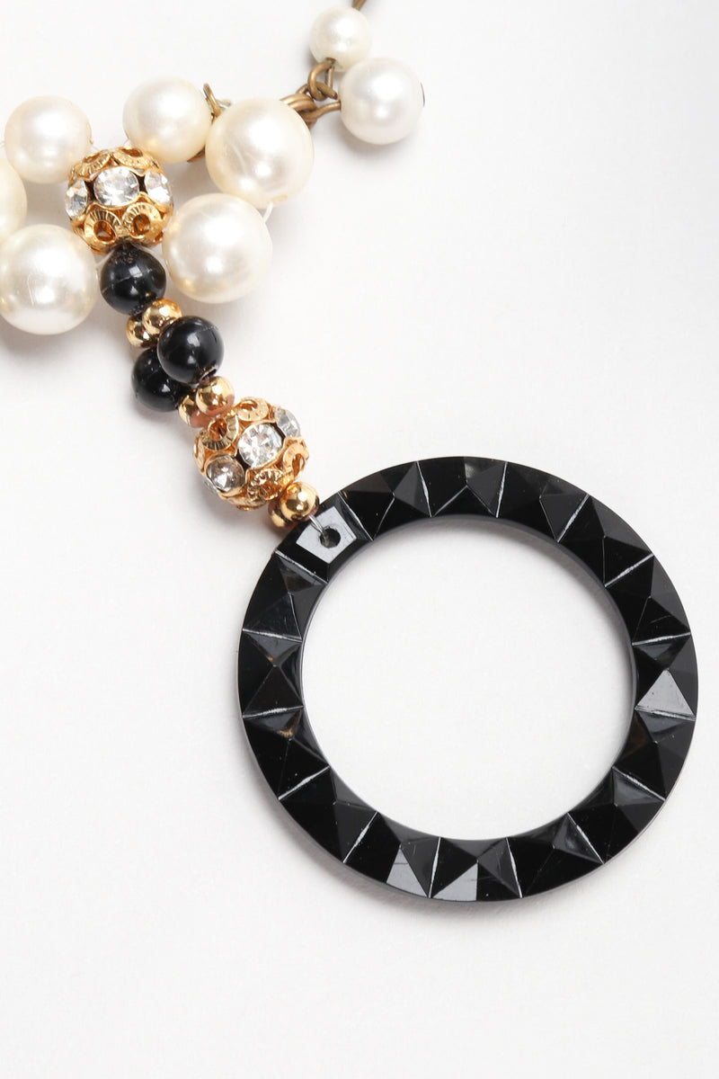 Recess Los Angeles Vintage Pearl Lucite Ring Collar Necklace