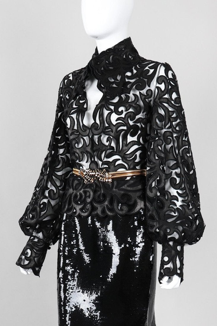 Recess Los Angeles Vintage Sheer Leather Appliqué Mesh Balloon Sleeve Blouse