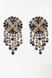 Recess Los Angeles Vintage Beaded Button Fringe Clip On Earrings