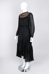 Recess Los Angeles Vintage Egyptian Beaded Collar Silk Chiffon Dress