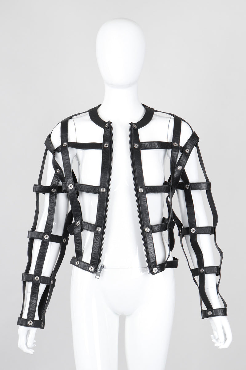 Recess Los Angeles Vintage Leather Cage Bondage Bomber Jacket