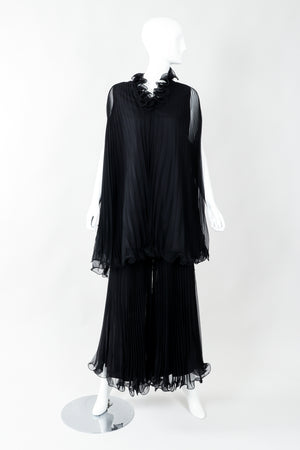 Vintage Bullocks Wilshire Pleated Chiffon Top & Palazzo Pant Set on Mannequin Front at Recess