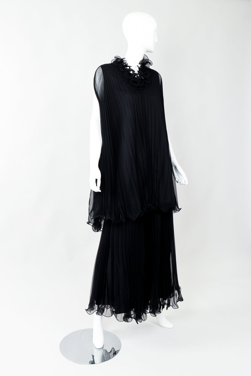 Vintage Bullocks Wilshire Pleated Chiffon Top & Palazzo Pant Set on Mannequin angled at Recess