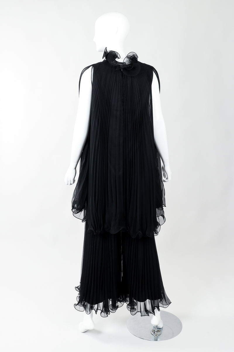 Vintage Bullocks Wilshire Pleated Chiffon Top & Palazzo Pant Set on Mannequin Back at Recess