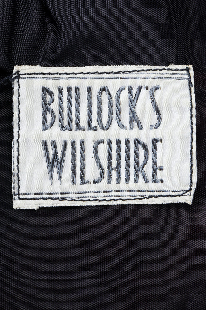 Vintage Bullocks Wilshire Label on black