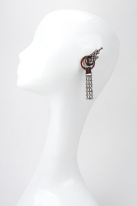 Recess Los Angeles Vintage Raffaele Giacomini Deadstock Bronze Crystal Mesh Elf Drop Earrings
