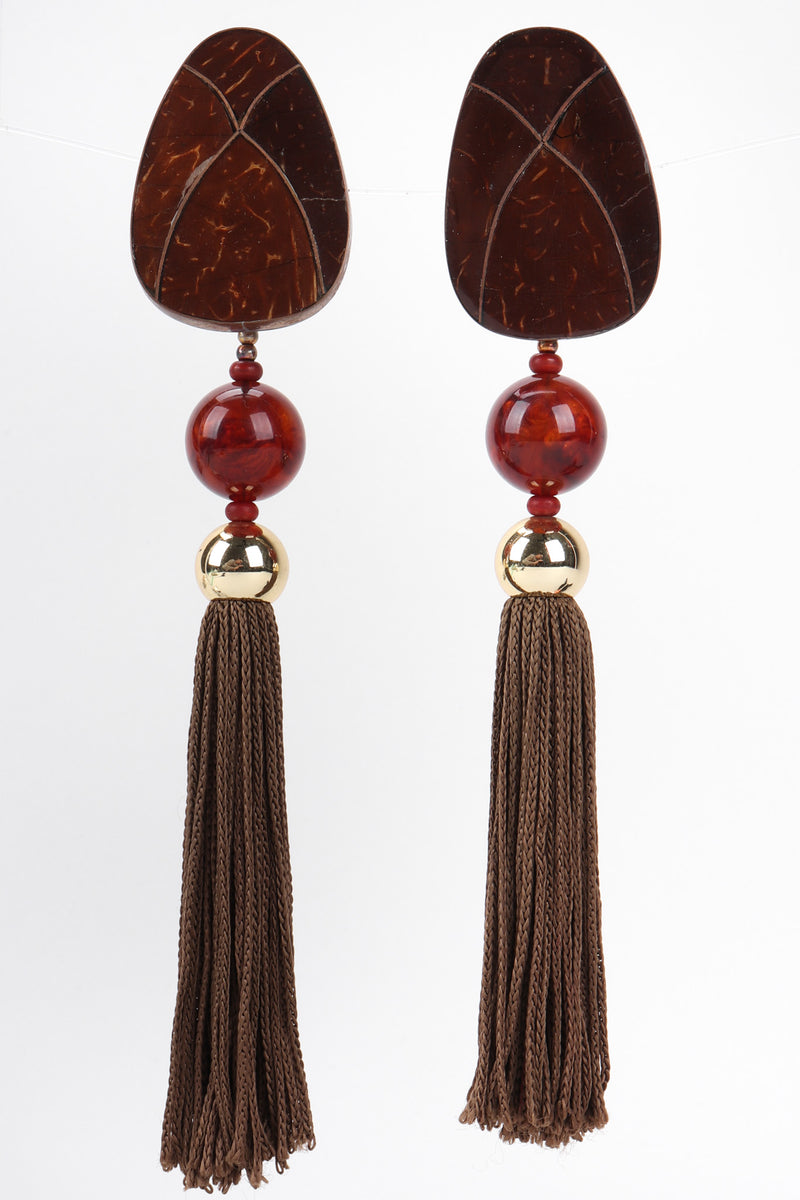 Recess Los Angeles Vintage Rafael Sanchez Coconut Wood Tassel Drop Earrings
