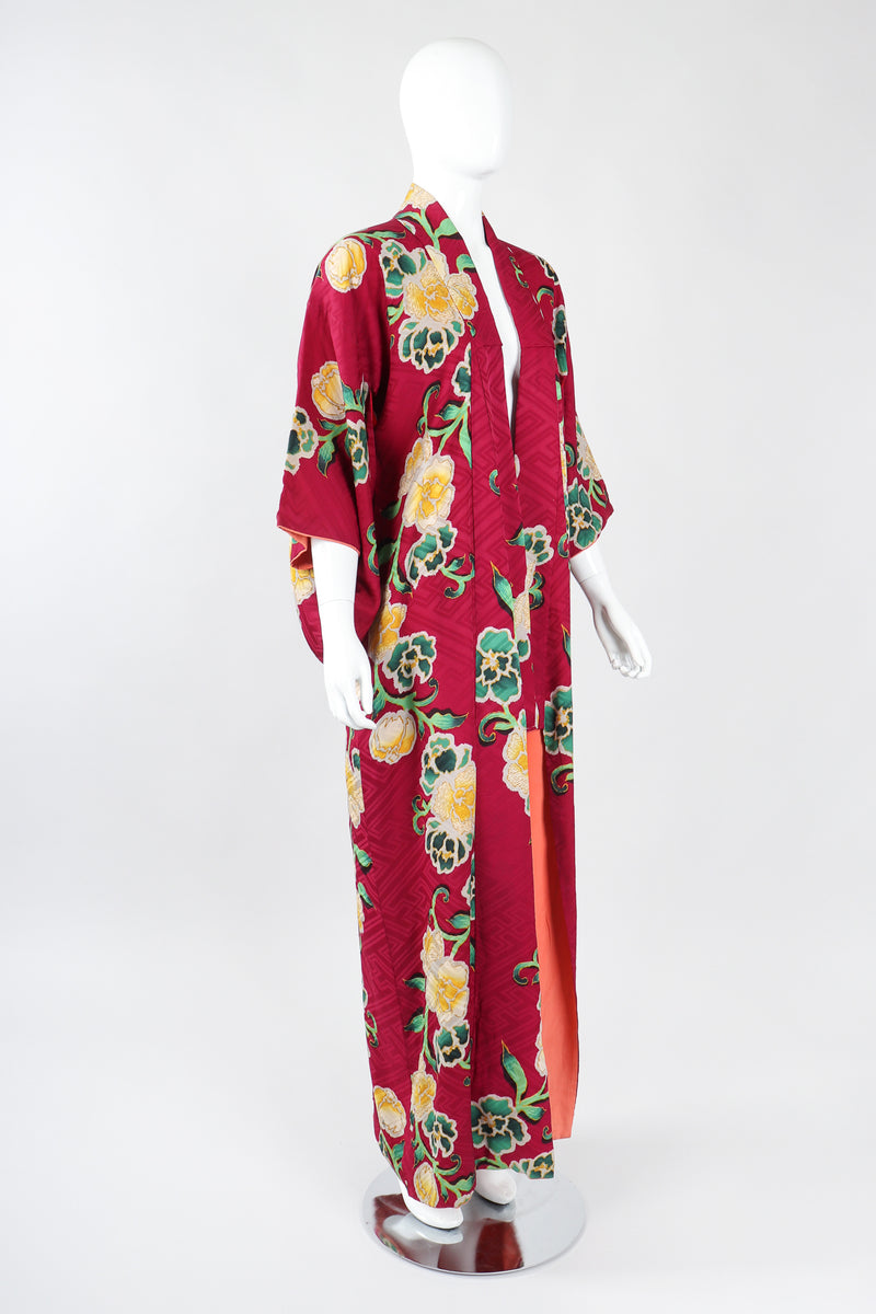Recess Los Angeles Designer Consignment Vintage Japanese Yellow Rose Gucci inspired Silk Komon Kimono