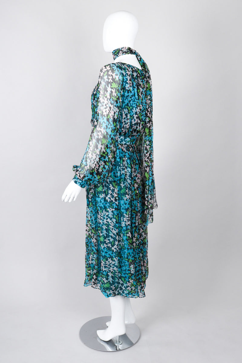 Recess Los Angeles Vintage No Label Silk Chiffron Dress Floral Teal