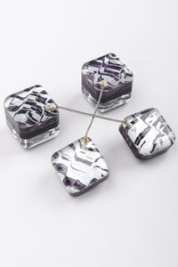 Recess Los Angeles Vintage Marbleized Lucite Cube Drop Purple Silver Earrings Inner Painted Thin Silver Chain