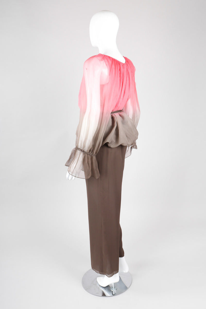 Recess Los Angeles Vintage Unlabeled Bill Blass Neapolitan Silk Chiffon Blouse and Pant Set