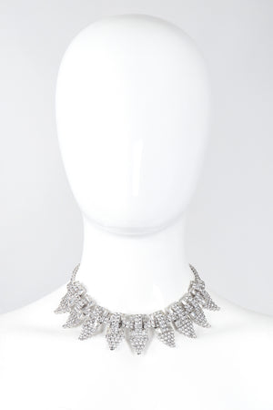 Recess Los Angeles Vintage Art Deco Pointed Crystal Choker Necklace