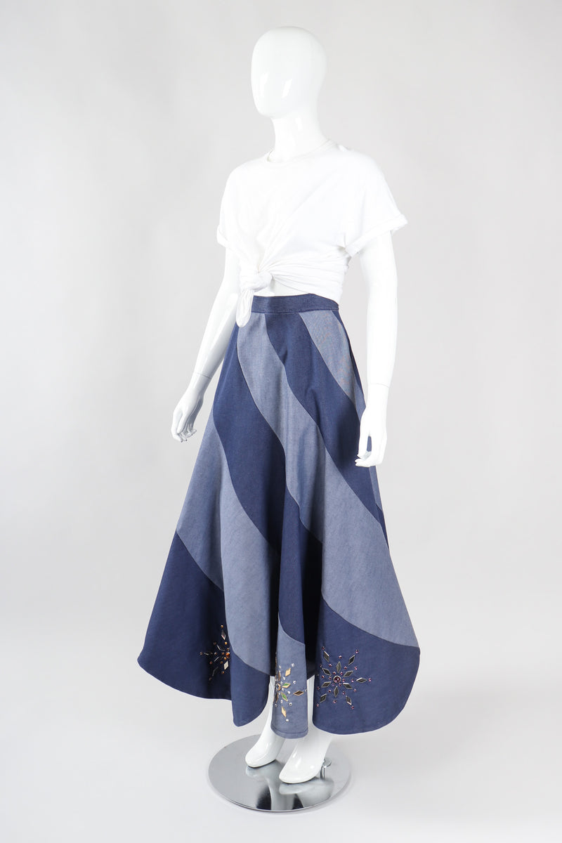 Recess Los Angeles Vintage Studded Denim Swirl Skirt