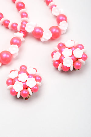 Recess Los Angeles Vintage Fluorescent Hot Pink Bubble Cherry Blossom Necklace & Earring Set