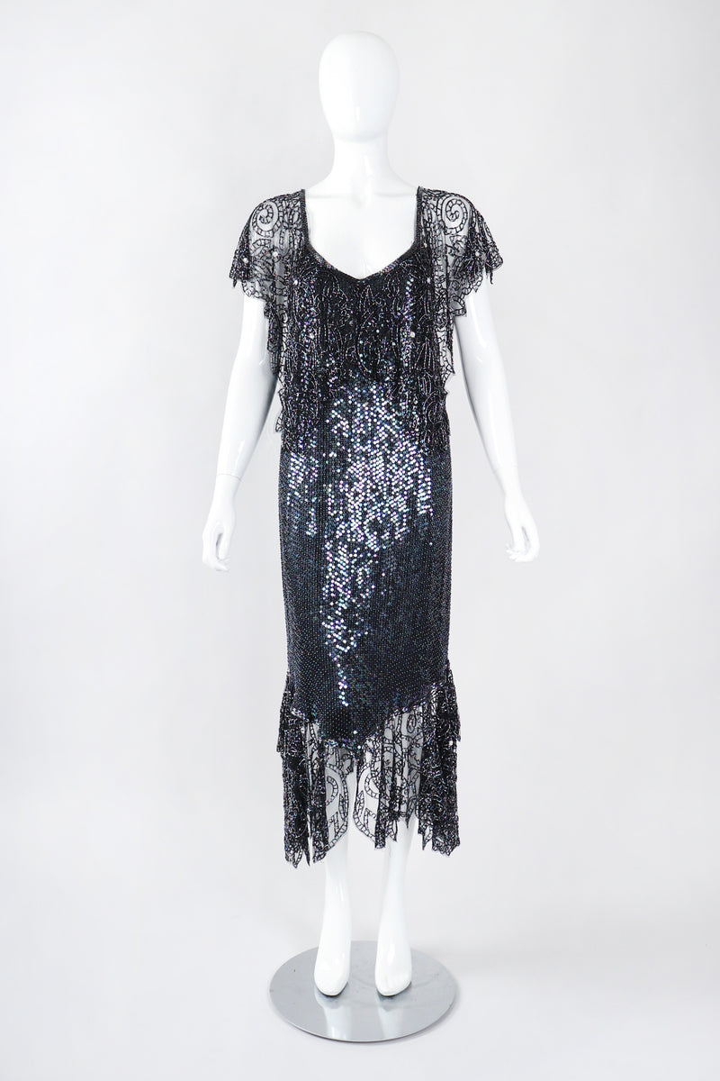 Recess Los Angeles Vintage Embellished Bead Lace Bertha Collar Dance Dress