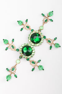 Recess Los Angeles Vintage Unsigned Green Envy Crystal Gem Filigree Chandelier Earrings