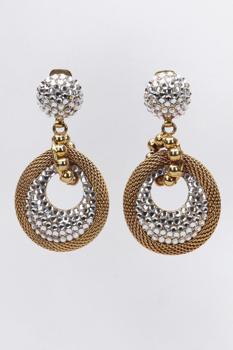 Recess Los Angeles Vintage Crystal Mesh Drop Earrings