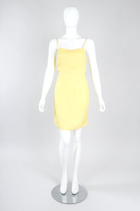 Recess Designer Consignment Vintage Golden Embellished Shift Dress Los Angeles Resale Recycled