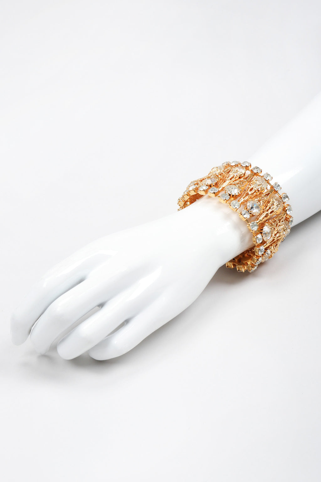 Recess Los Angeles Vintage Crystal Filigree Ice Cream Wide Cuff Bracelet