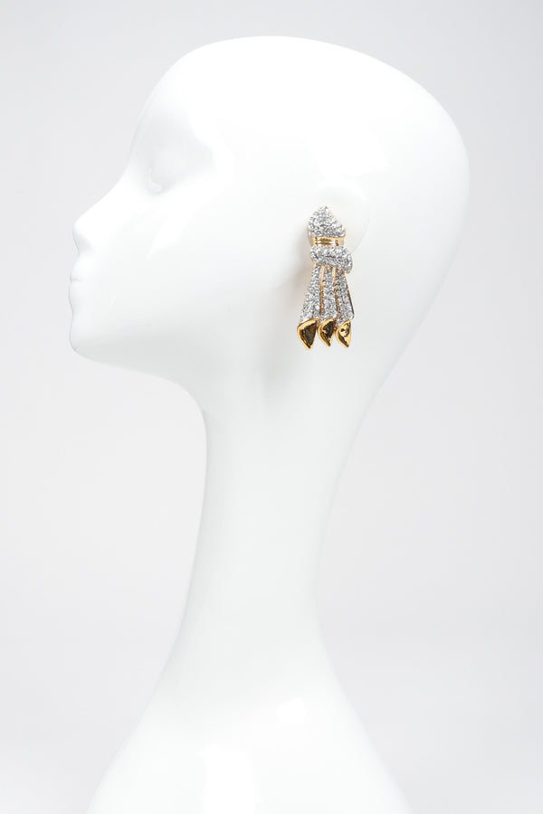 Recess Los Angeles Vintage Crystal Knot Dangle Squid Earrings