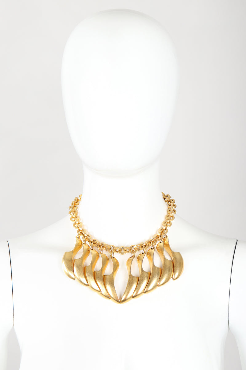 Recess Designer Consignment Vintage Matte Gold Modernist Claw Spike Necklace