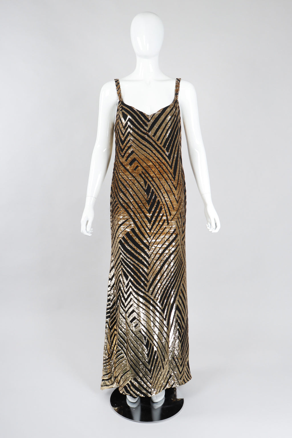 Recess Los Angeles Vintage Deco Gold Velvet Lamé Maxi Slipdress