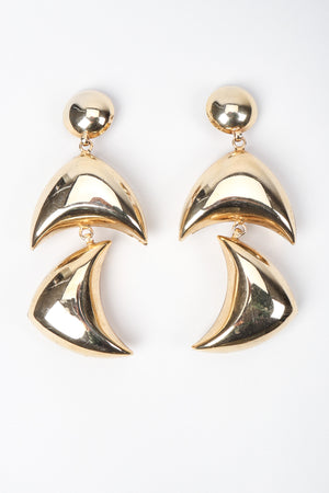 Recess Los Angeles Vintage Gold Sculptural Boomerang Drop Clip On Earrings