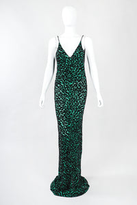 Recess Designer Consignment Vintage Backless Cheetah Silk Velvet Burnout Gown Train Los Angeles Resale