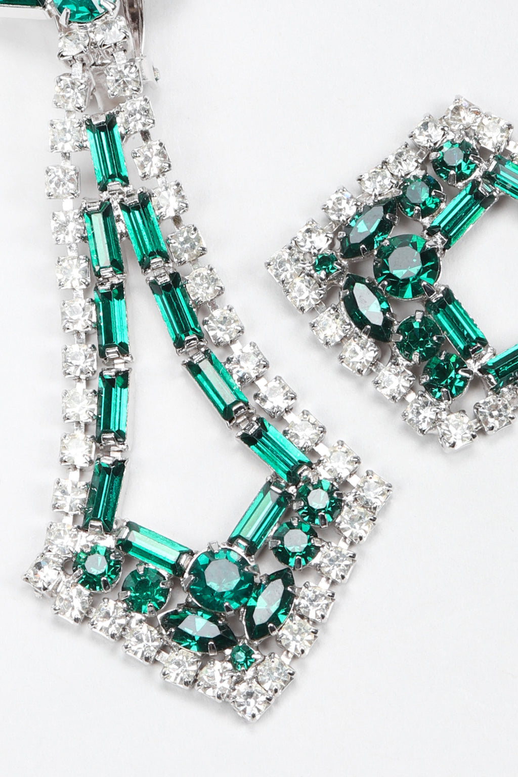 Recess Los Angeles Vintage Crystal Rhinestone Emerald Pointed Art Deco Drop Earrings