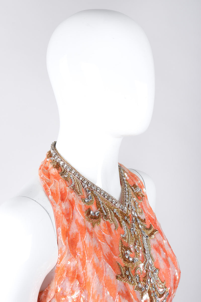 Recess Los Angeles Vintage Mary McFadden Beaded Sequined Phoenix Feather Halter Gown
