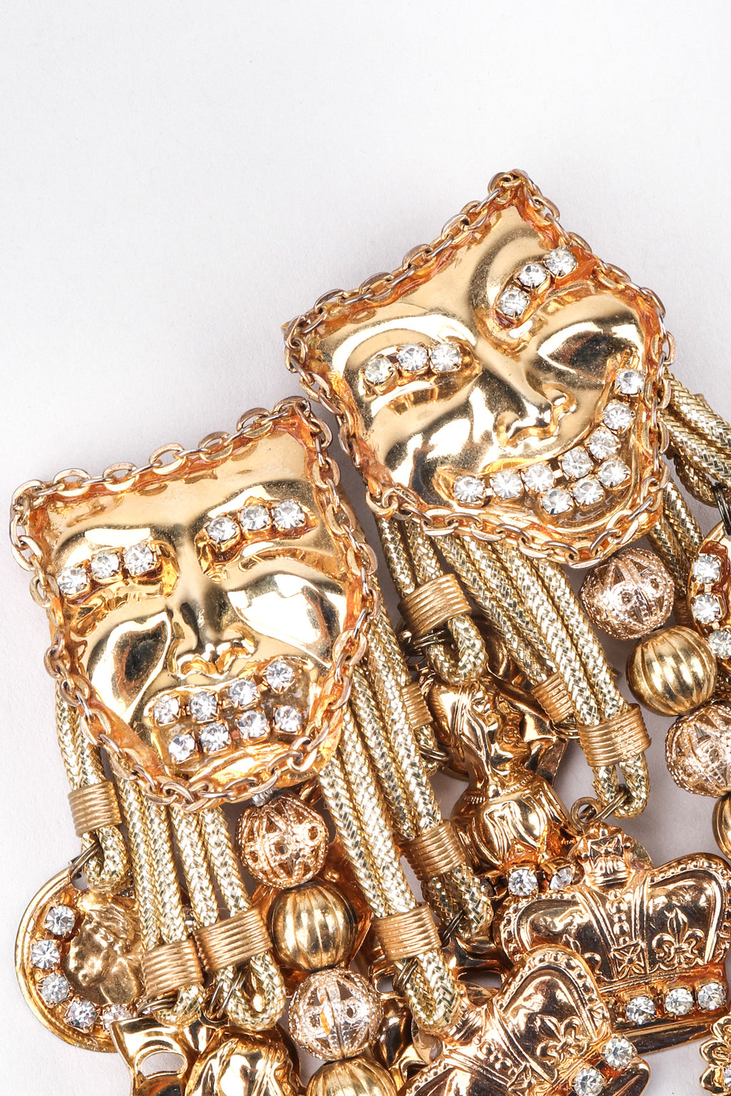 Recess Los Angeles Vintage Masks Charms Dangle Earrings Comedy Tragedy Chain Trim Jesters Coins Rhinestones Beads