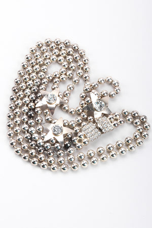 Recess Los Angeles Vintage Double Strand Ball Chain Star Silver necklace Rhinestone Box Clasp