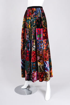 Recess Los Angeles Vintage Long Velvet Boho Patchwork Skirt