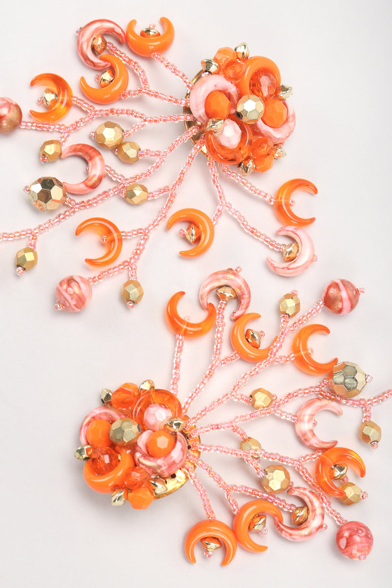 Recess Designer Consignment Vintage Crescent Moon Bead Fringe Earrings Sailor Moon Los Angeles Resale