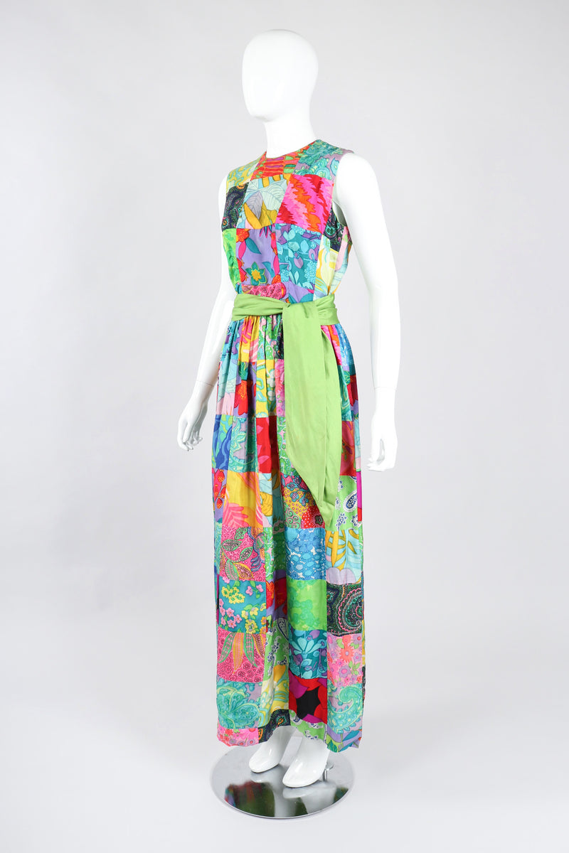 Recess Los Angeles Vintage Silk Patchwork Belted Dress