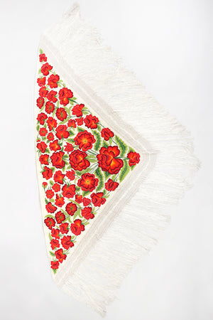 Recess Los Angeles Vintage Embroidered Roses Triangle Silk Piano Shawl