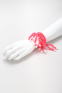 Recess Los Angeles Vintage 1960s Hot Pink Fluorescent Beaded Loop Wire Wrap Bracelet