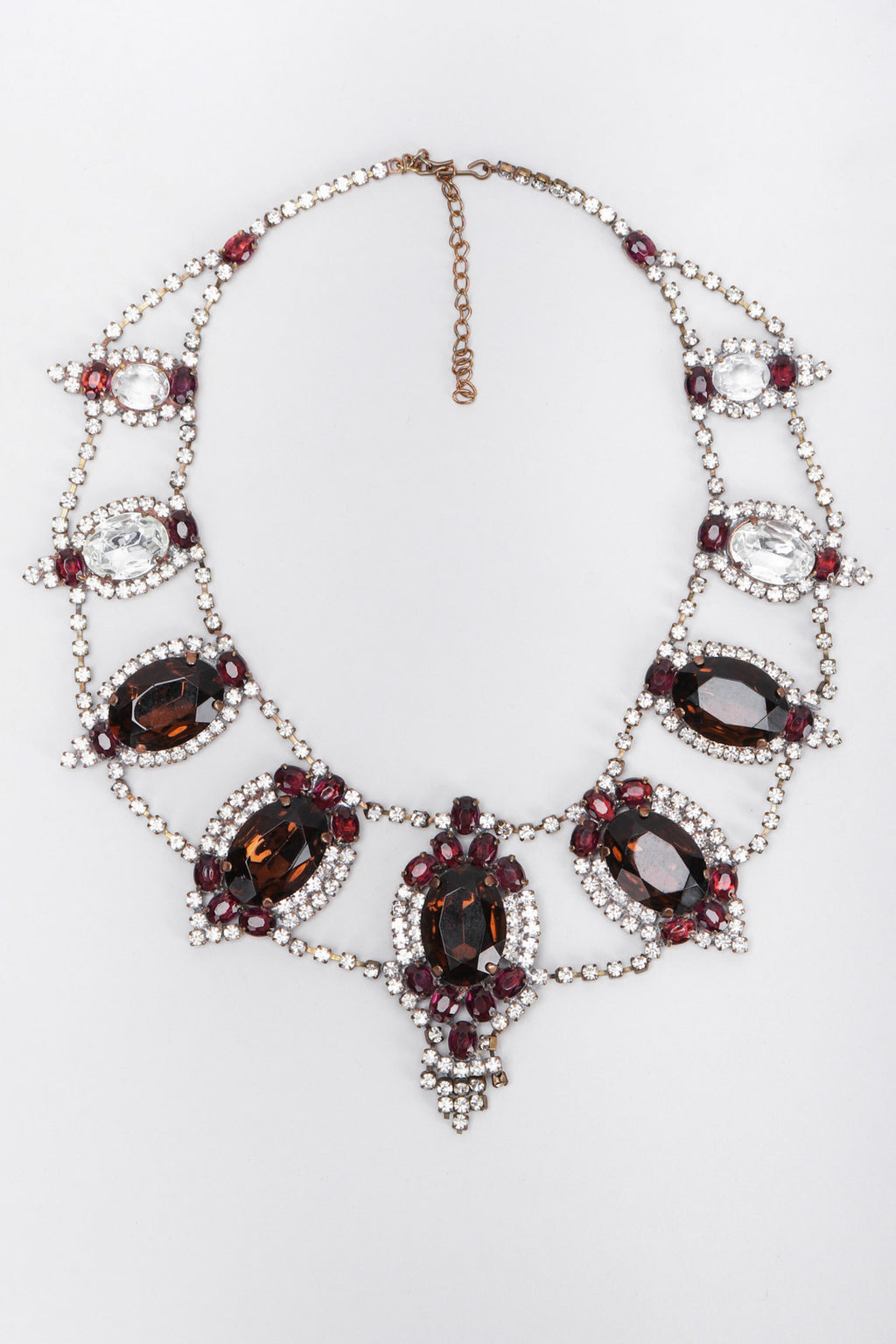Recess Los Angeles Vintage No Label Czech Purple Amber Glass Necklace Rhinestone