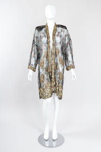 Recess Los Angeles Ramana Vintage Indian Sheer Lamé Embellished Sequined Duster Jacket Robe Kimono
