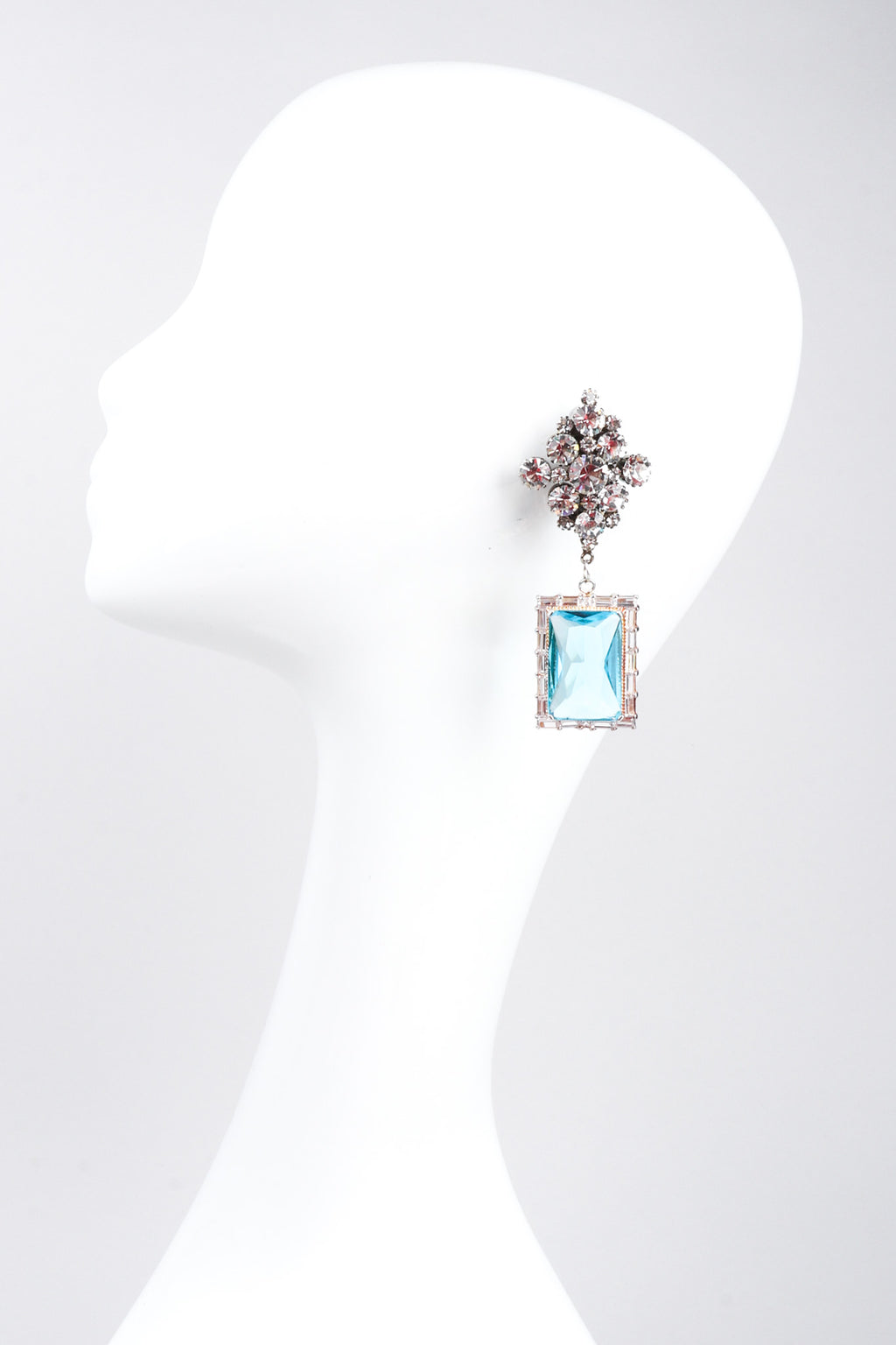 Recess Los Angeles Vintage No Label Blue Beveled Glass Diamond Shaped Cluster Rhinestone Drop Earrings