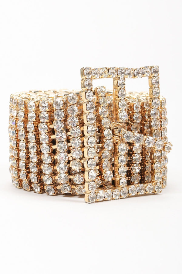 Recess Los Angeles Vintage Crystal Rhinestone Straight Frame Buckle Belt
