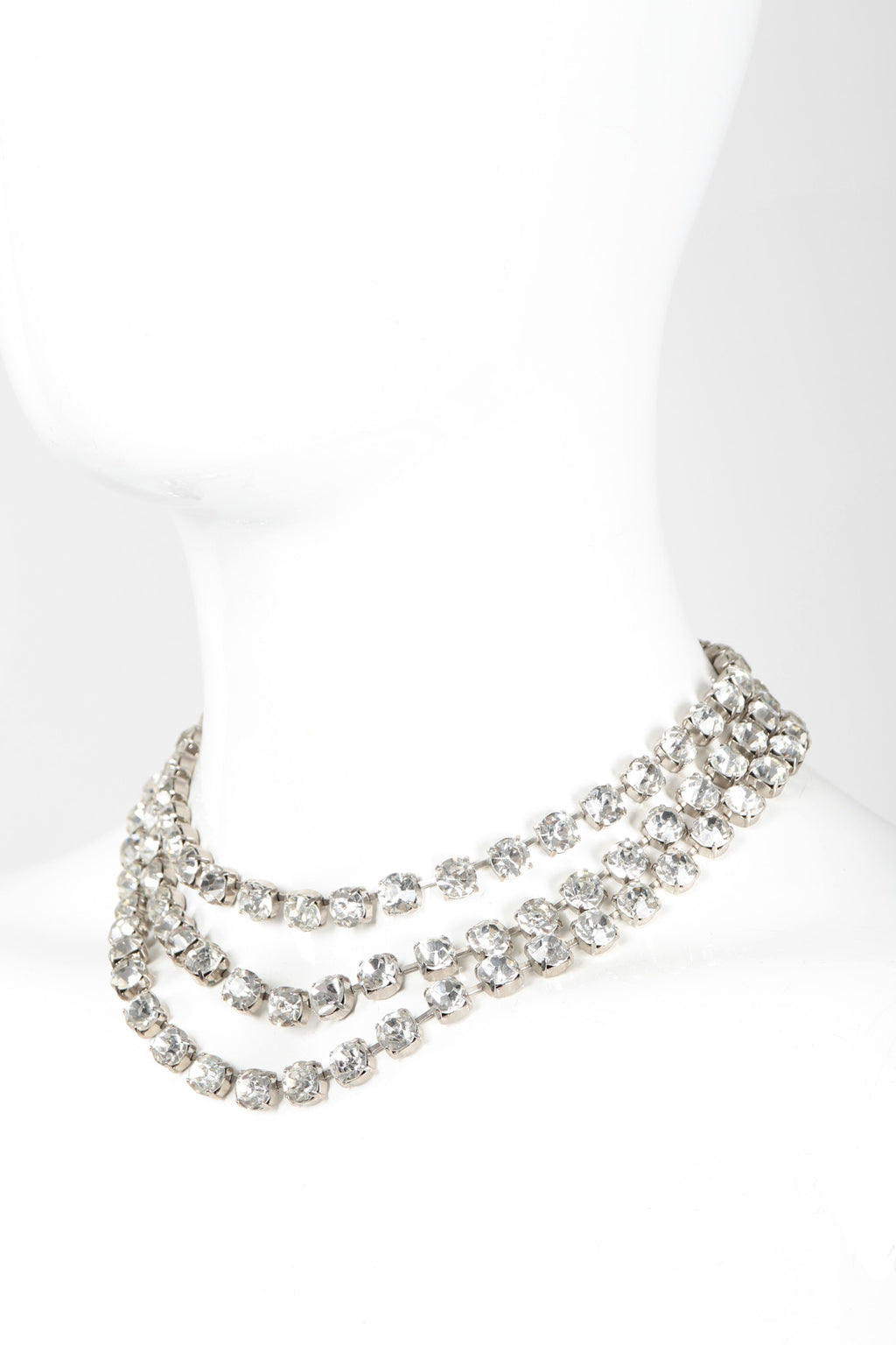 Recess Los Angeles Vintage Triple Strand Rhinestone Crystal Collar Necklace