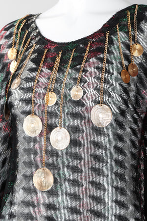 Recess Los Angeles Vintage Metallic Lamé Medallion Caftan Poncho Tunic