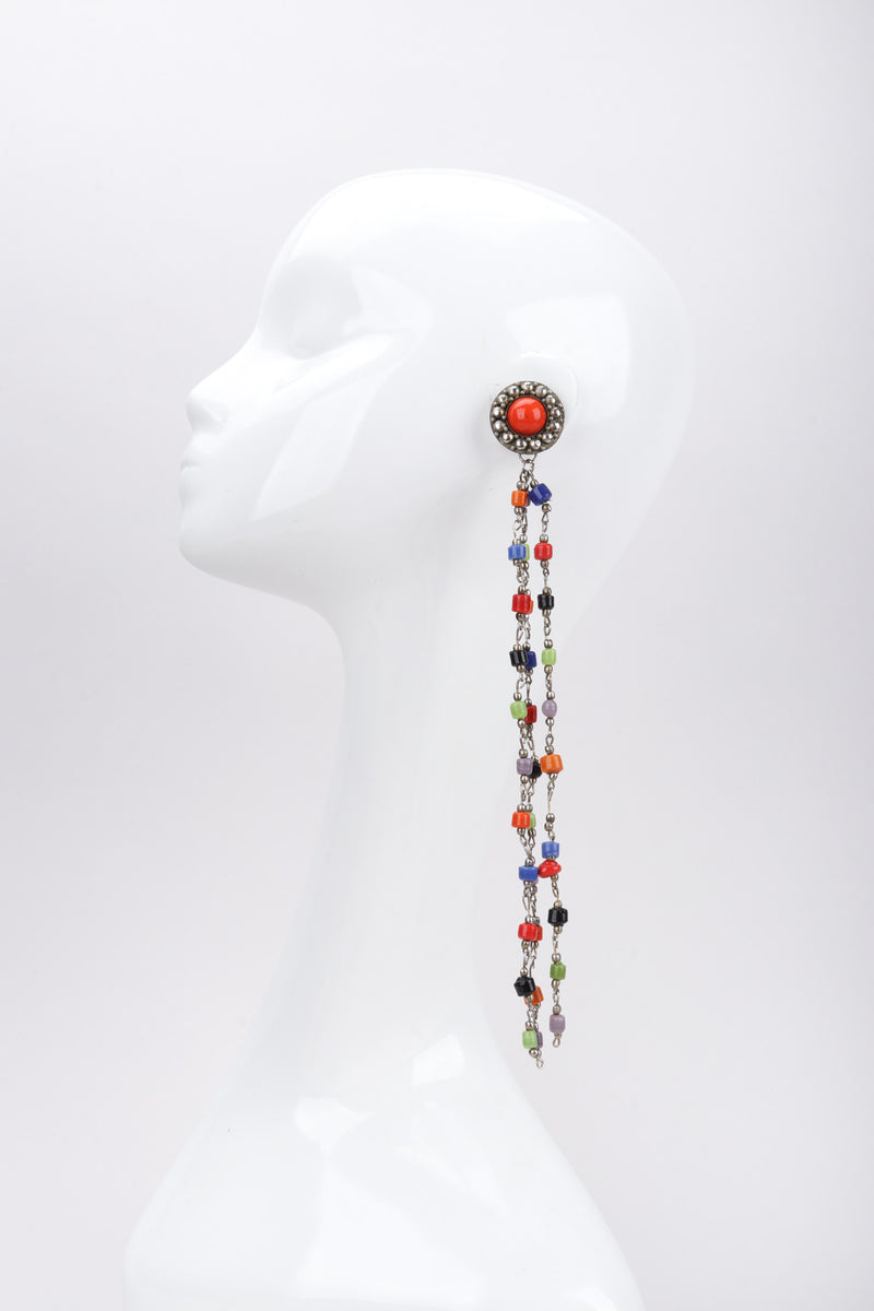 Recess Los Angeles Vintage Artisan XL Extreme Beaded Clay Fringe Shoulder Duster Drop Earring