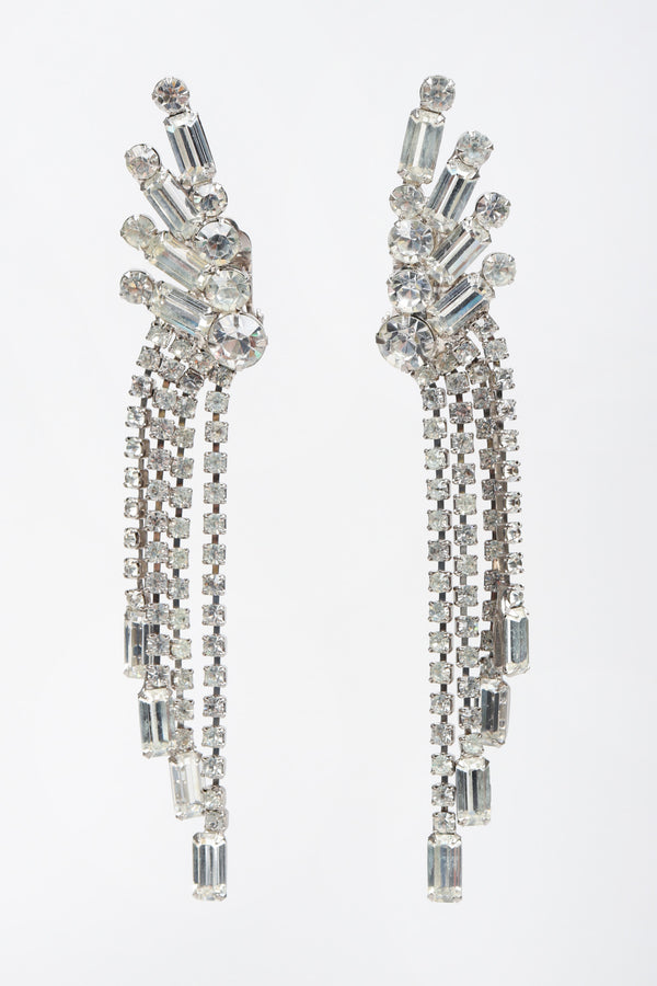 Recess Los Angeles Vintage Crystal Rhinestone Waterfall Ear Cuff Climber Earrings