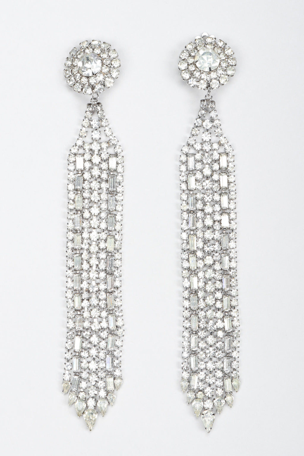 Recess Los Angeles Vintage Crystal Metal Ribbon Shoulder Duster Drop Earrings
