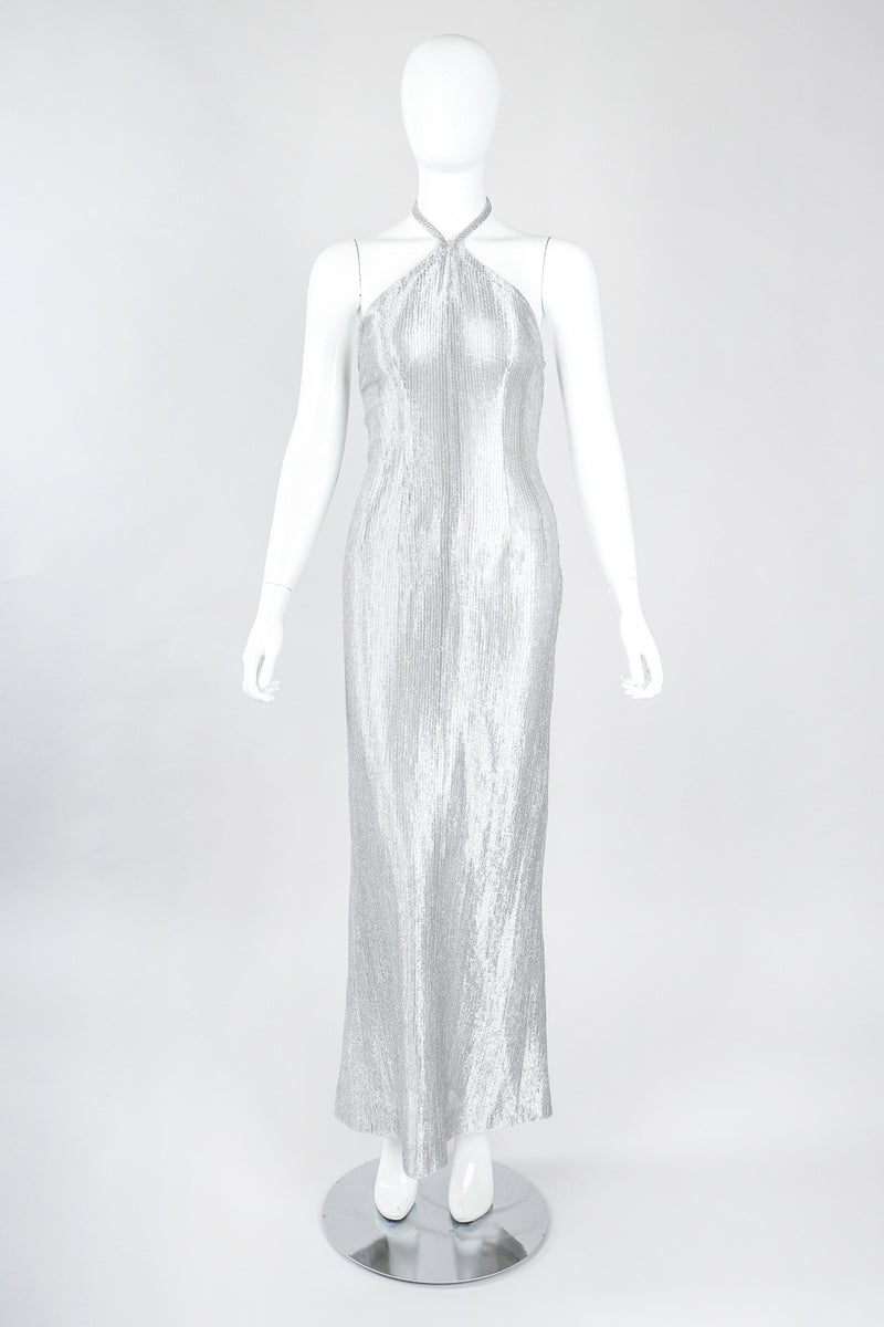 Recess Designer Consignment Vintage Richard Tyler 1990s Metal Mesh Lamé Halter Gown Los Angeles Resale