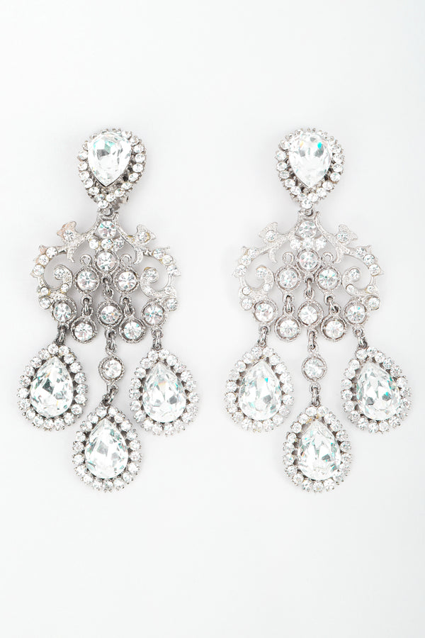 Recess Los Angeles Designer Consignment Resale Vintage Silver Crystal Teardrop Chandelier Beyonce Earrings