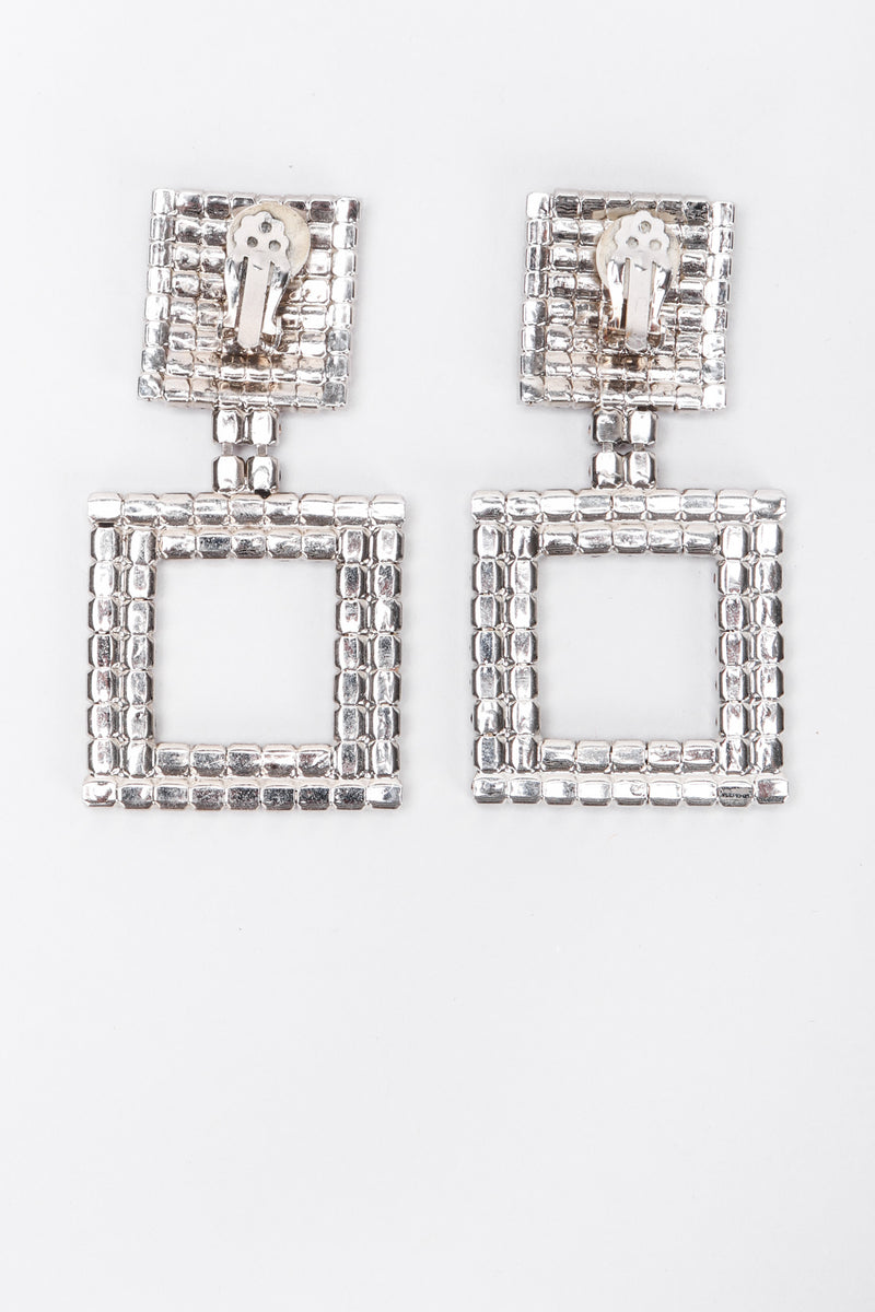 Recess Los Angeles Vintage No Label Red Rhinestone Square Earrings